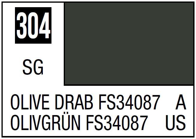 Mr Hobby Mr. Color 304 - Olive Drab FS34087 (Semi-Gloss/Aircraft) - 10ml