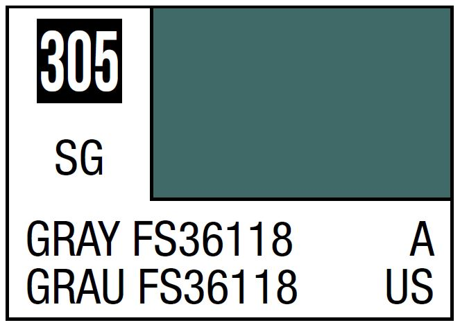 Mr Hobby Mr. Color 305 Gray FS36118 (Semi-Gloss/Aircraft) - 10ml