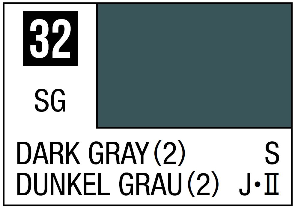 Mr Hobby Mr. Color 32 Dark Gray (2) (Semi-Gloss/Ship) - 10ml