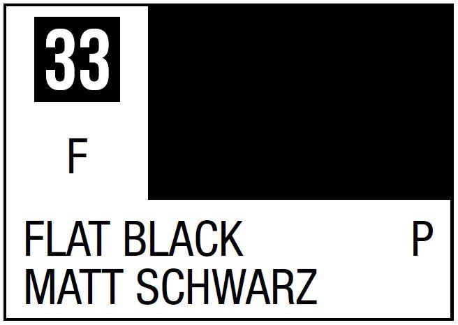 Mr Hobby Mr. Color 33 - Flat Black (Flat/Primary) - 10ml
