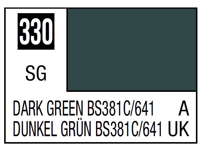Mr Hobby Mr. Color 330 - Dark Green Bs381C/641 (Semi-Gloss/Aircraft) - 10ml