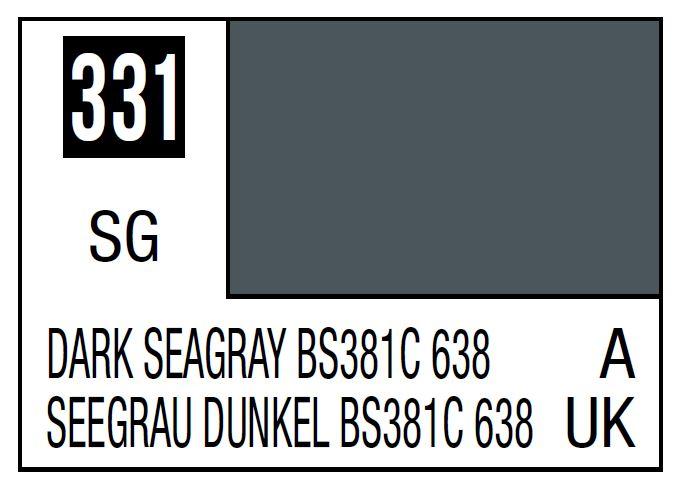 Mr Hobby Mr. Color 331 - Dark Seagray Bs381C 638 (Semi-Gloss/Aircraft) - 10ml