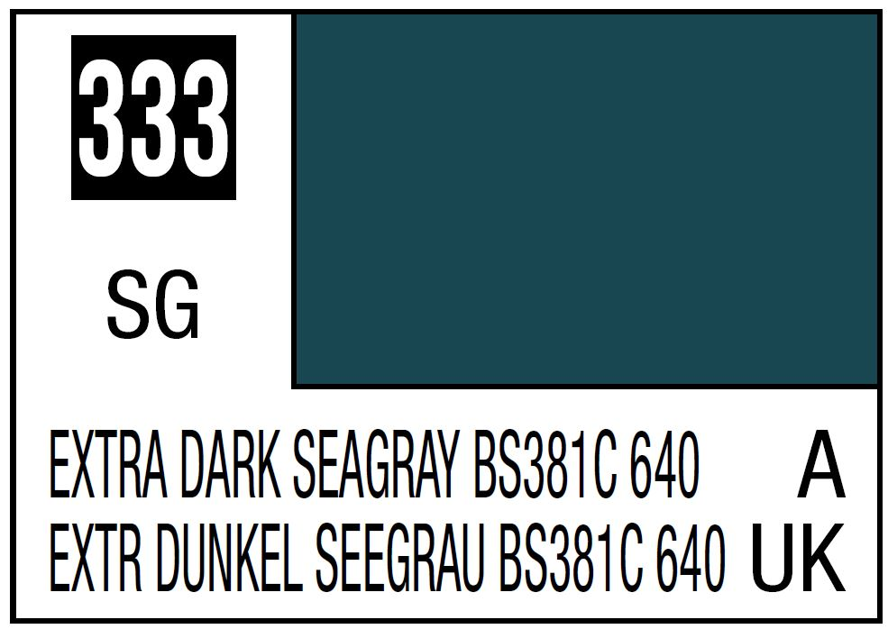 Mr Hobby Mr. Color 333 Extra Dark Seagray BS381C 640 (Semi-Gloss/Aircraft) - 10ml