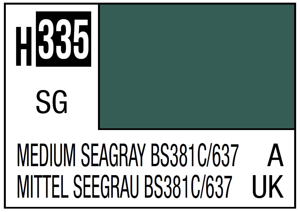 Mr Hobby Mr. Color 335 Medium Seagray BS381C 637 (Semi-Gloss) - 10ml