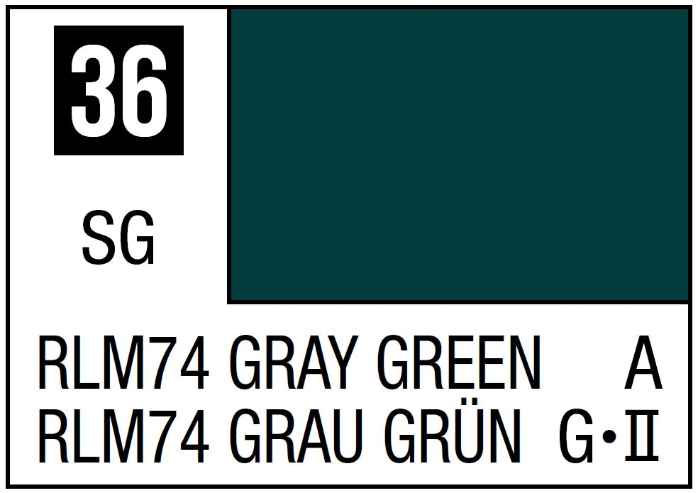 Mr Hobby Mr. Color 36 RLM74 Gray Green (Semi-Gloss/Aircraft) - 10ml