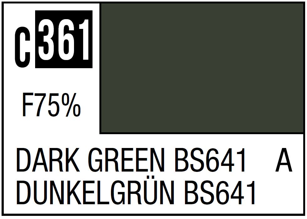 Mr Hobby Mr. Color 361 Dark Green BS641, WWII Mid-Late RAF Standard Color - 10ml