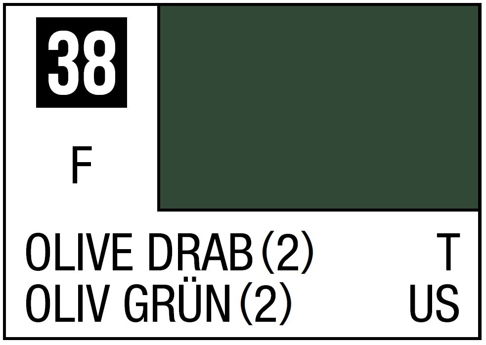 Mr Hobby Mr. Color 38 Olive Drab 2 (Flat/Tank) - 10ml
