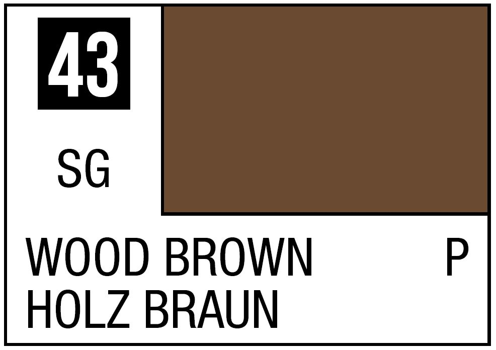 Mr Hobby Mr. Color 43 Wood Brown (Semi-Gloss/Primary) - 10ml