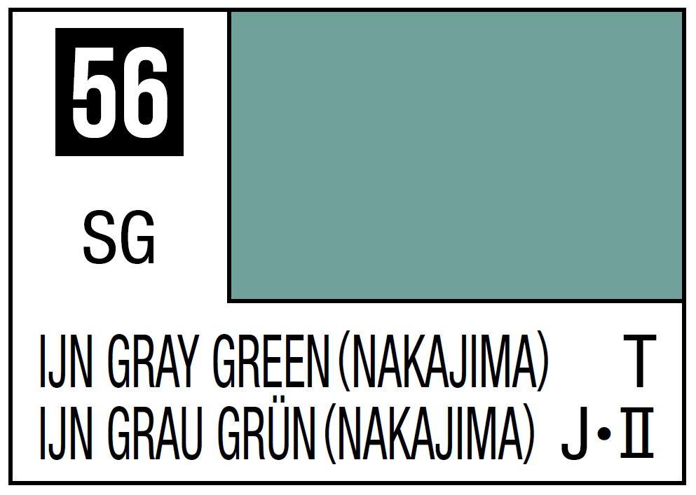 Mr Hobby Mr. Color 56 - LJN Gray Green (Semi-Gloss/Tank) - 10ml