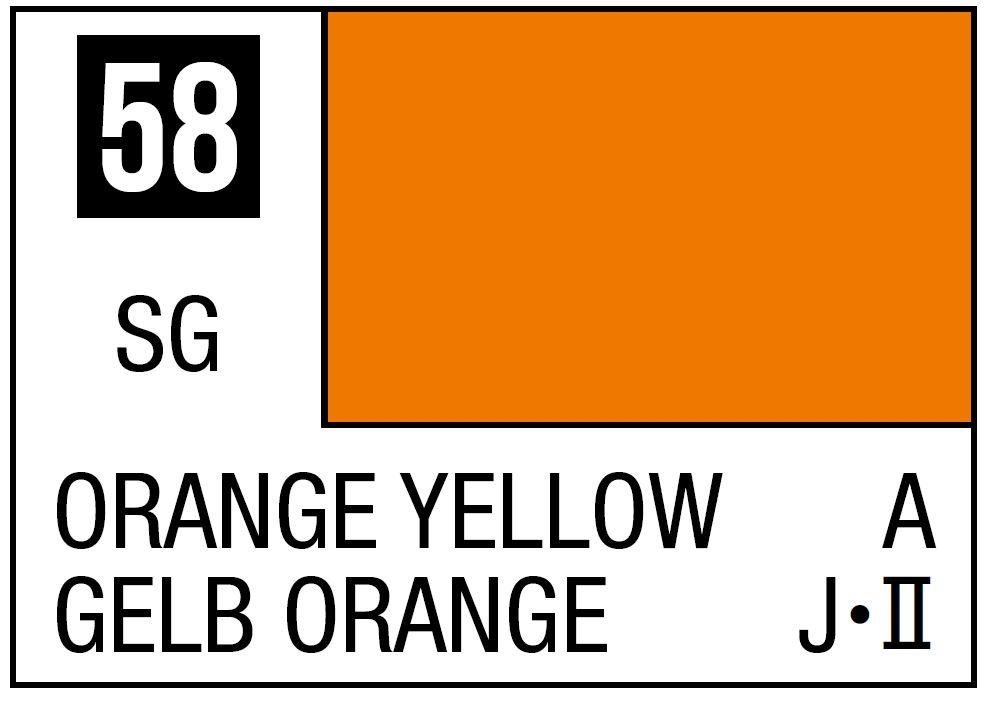 Mr Hobby Mr. Color 58 - Orange Yellow (Semi-Gloss/Aircraft) - 10ml