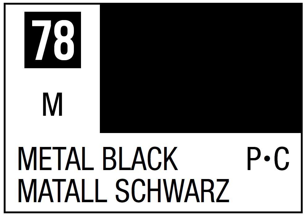 Mr Hobby Mr. Color 78 - Metal Black (Metallic/Primary Car) - 10ml