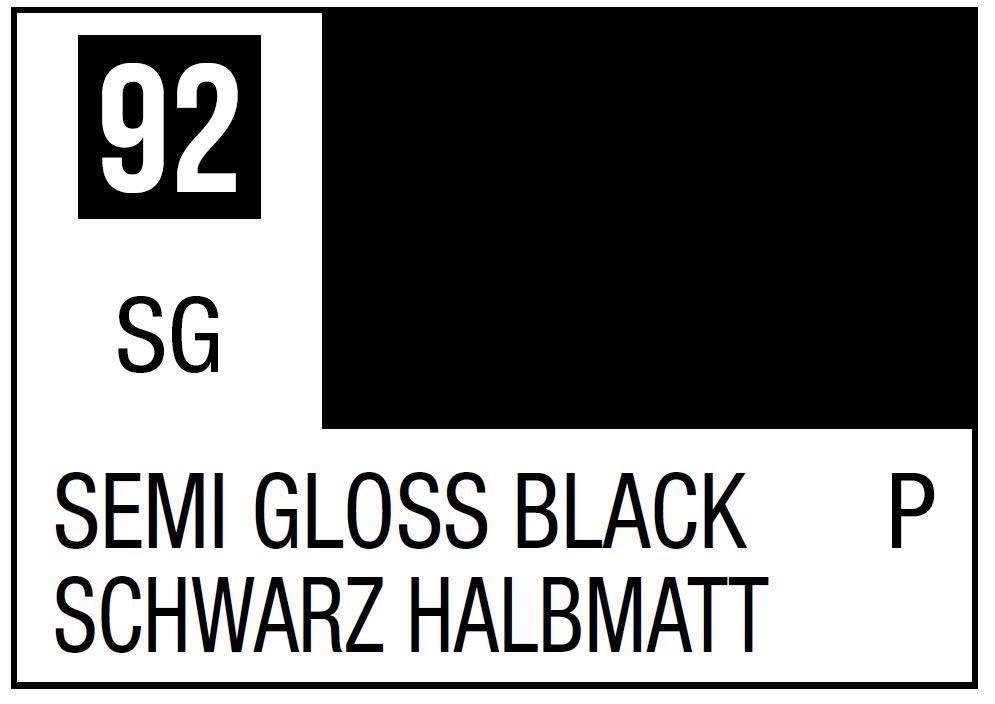 Mr Hobby Mr. Color 92 - Semi Gross Black (Semi-Gloss/Primary) - 10ml