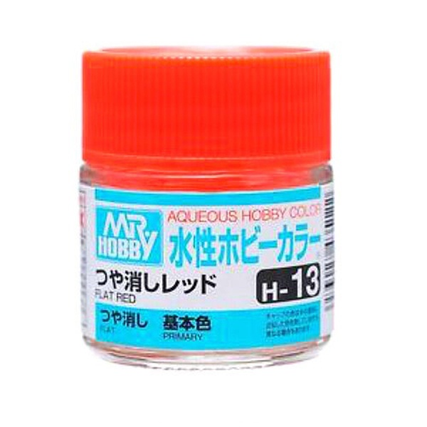 Mr Hobby Aqueous Color H13 Flat Red 10ml Bottle