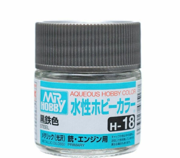 Mr Hobby Aqueous Color H18 Metallic Steel 10ml Bottle