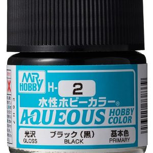 Mr Hobby Aqueous Color H2 Gloss Black 10ml Bottle