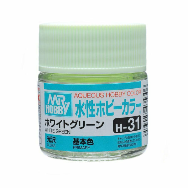 Mr Hobby Aqueous Color H31 Gloss White Green 10ml Bottle