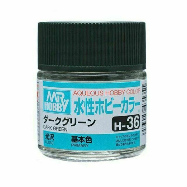 Mr Hobby Aqueous Color H36 Gloss Dark Green 10ml Bottle
