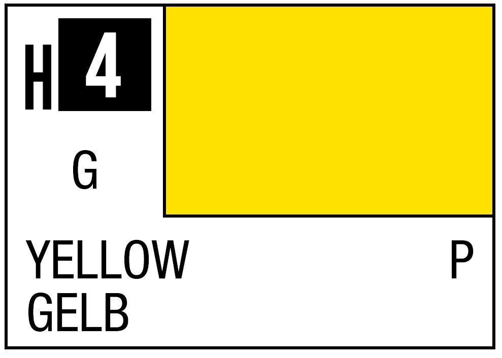 Mr Hobby GSI Aqueous Color H4 Gloss Yellow 10ml Bottle