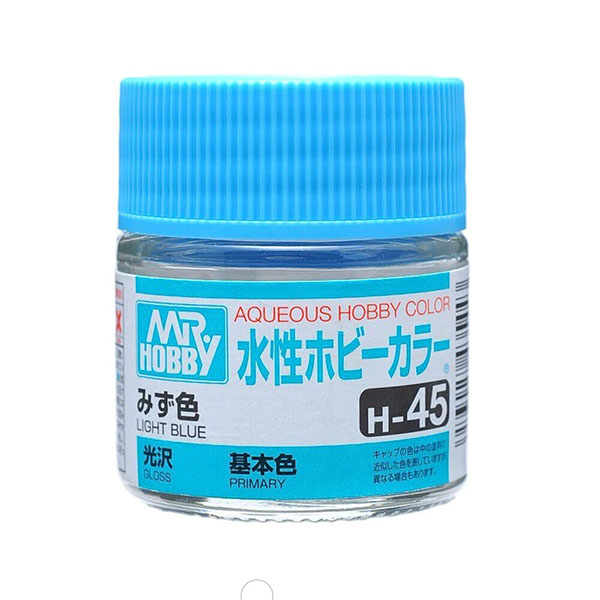 Mr Hobby Aqueous Color H45 Gloss Light Blue 10ml Bottle