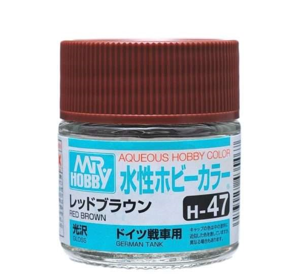 Mr Hobby Aqueous Color H47 Gloss Red Brown 10ml Bottle