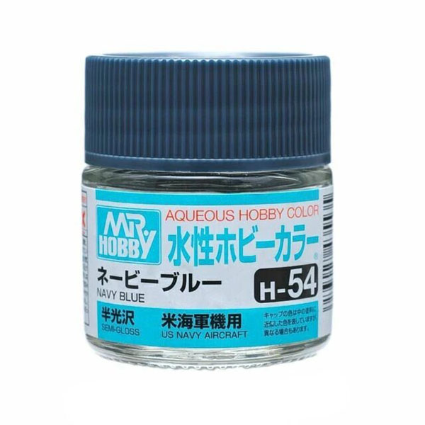 Mr Hobby Aqueous Color H54 Semi-Gloss Navy Blue 10ml Bottle