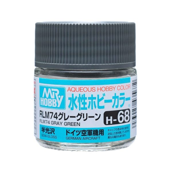 Mr Hobby Aqueous Color H68 Semi-Gloss RLM74 Gray Green 10ml Bottle