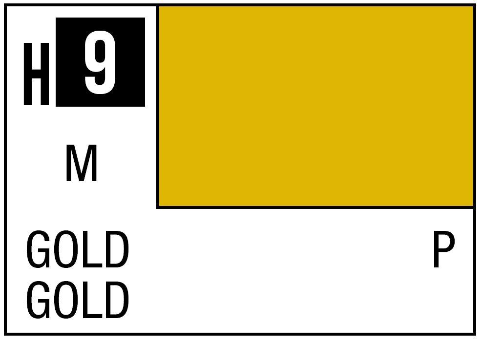 Mr Hobby GSI Aqueous Color H9 Metallic Gold 10ml Bottle