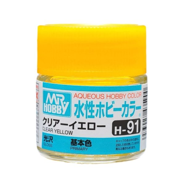 Mr Hobby Aqueous Color H91 Gloss Clear Yellow 10ml Bottle