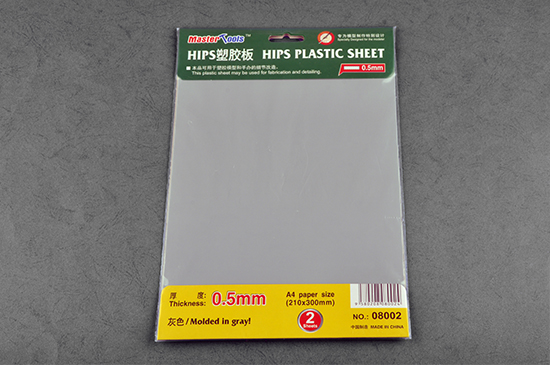 Master Tools 0.5mm HIPS PLASTIC SHEET A4 SIZE (210mm*300mm*2PCS)