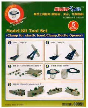 Master Tools Model Kit Tool Set (Clamp for Elastic Band, Clamp, Bottle Opener)