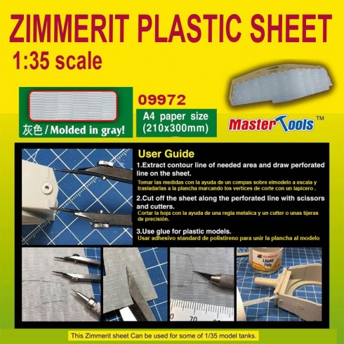 Master Tools Zimmerit Plastic Sheet--A4 Size