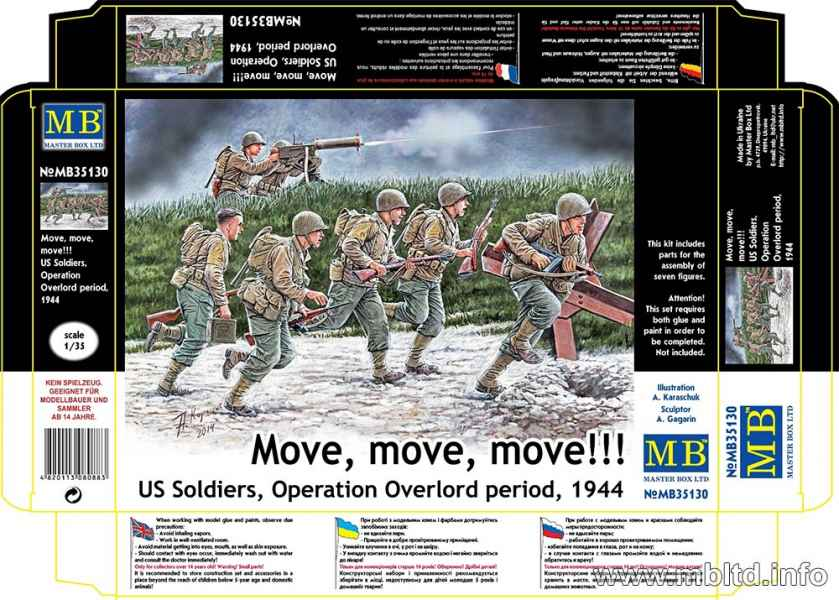 """MASTER BOX 1/35 """"Move, move, move!!!"""" US Soldiers, Operation Overlord period, 1944"""