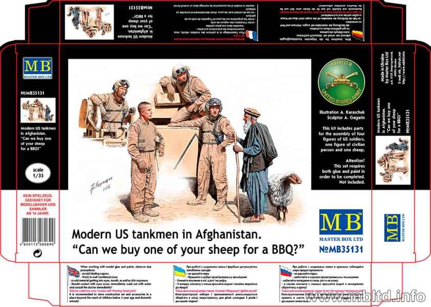 "MASTER BOX Modern US tankmen in Afghanistan. ""Can we buy one of your sheep for a BBQ?"