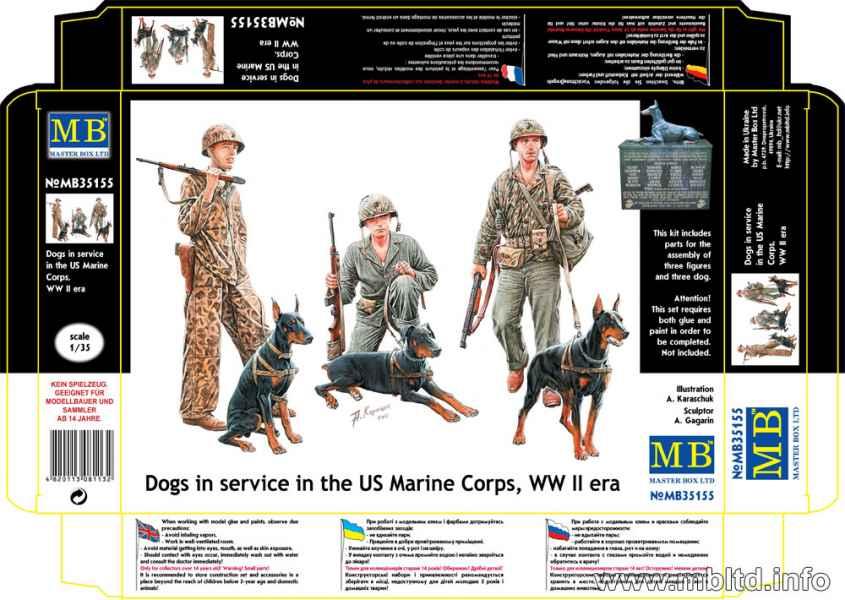 MASTER BOX 1/35 Dogs in service in the US Marine Corps, WW II era