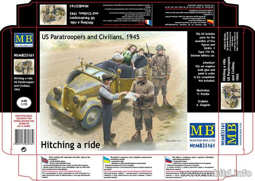 MASTER BOX 1/35 Hitch on the road. US Paratroopers and Civilians