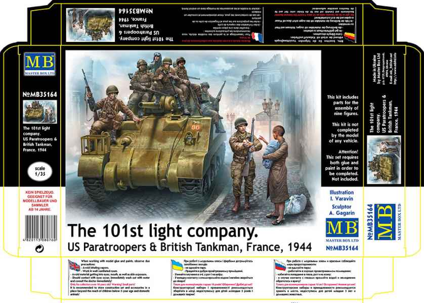 MASTER BOX The 101st light company. US Paratroopers & British Tankman, France, 1944