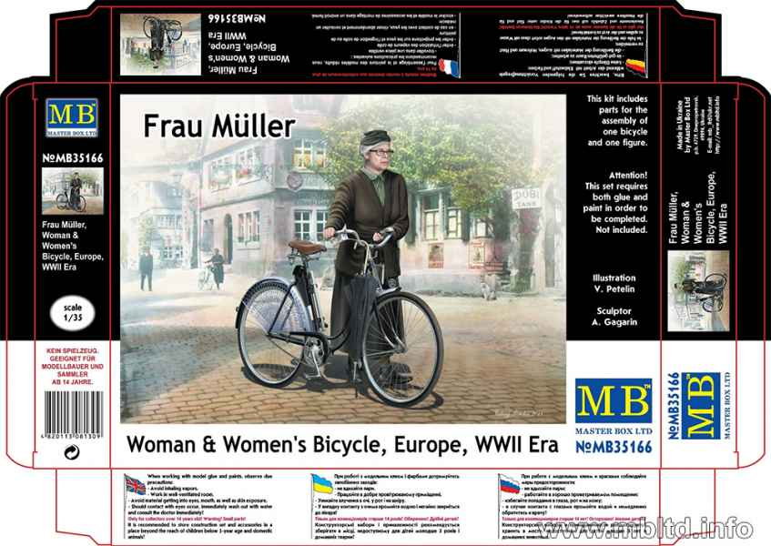 MASTER BOX Frau Müller. Woman & Women's Bicycle, Europe, WWII Era