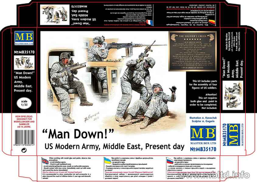 MASTER BOX Man Down! US Modern Army, Middle East, Present day