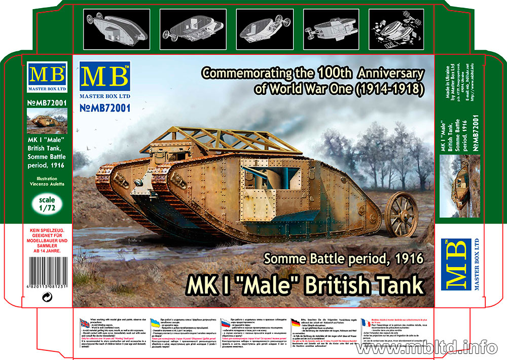 "MASTER BOX MK I ""Male"" British Tank, Somme Battle period, 1916"