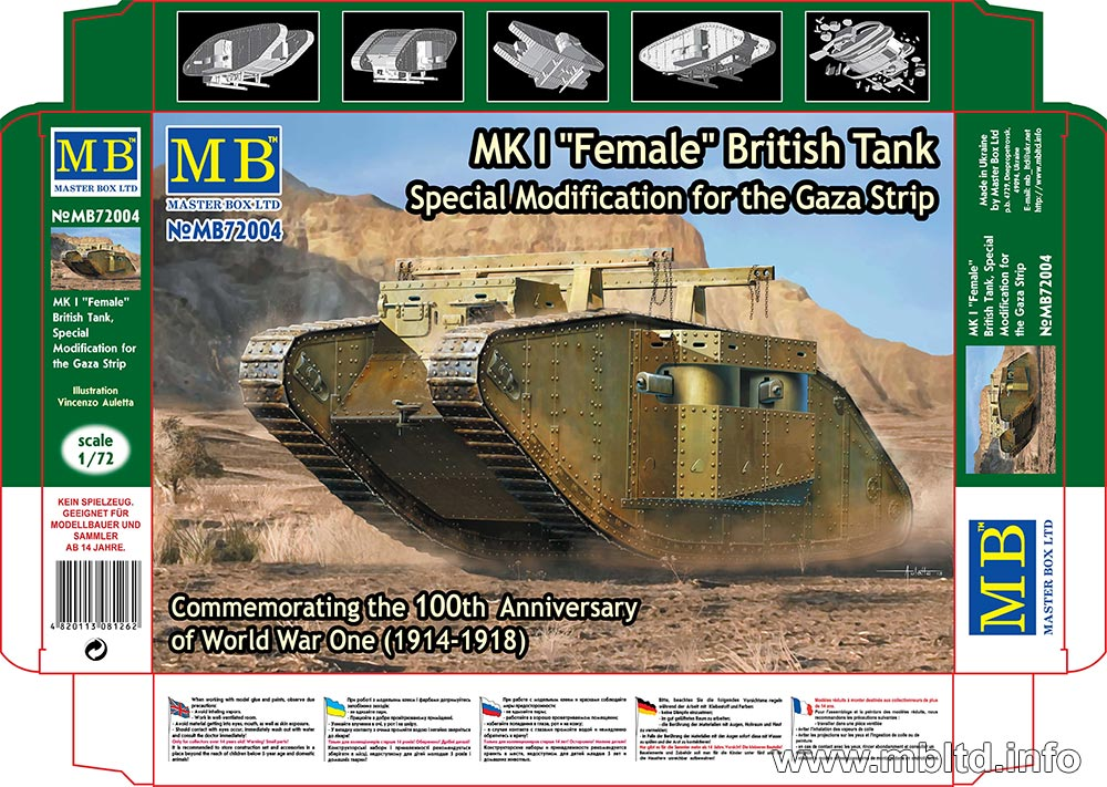 "MASTER BOX MK I ""Female"" British Tank, Special Modification for the Gaza Strip"