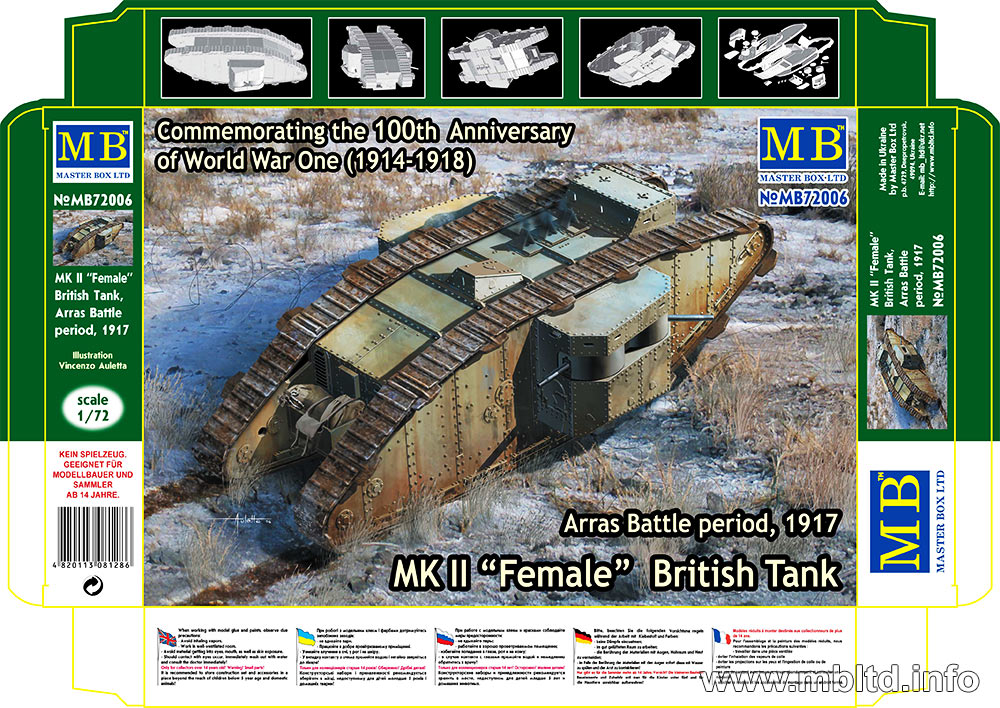 "MASTER BOX MK II ""Female"" British Tank, Arras Battle period, 1917"