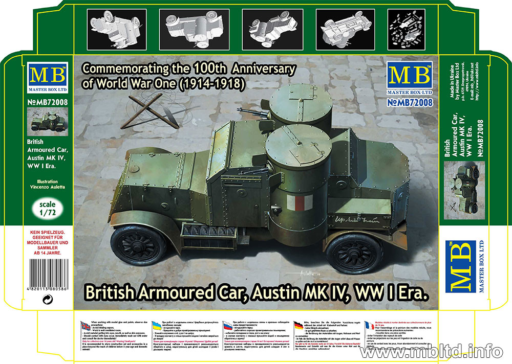 MASTER BOX British Armoured Car, Austin, MK IV, WW I Era