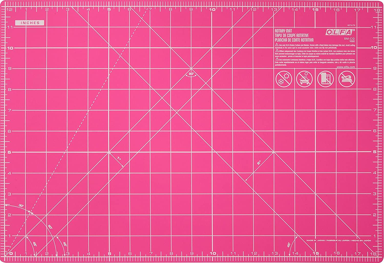 """OLFA 12"""" x 18"""" Double Sided Rotary Mat, Pink (RM-CG/PIK)"""