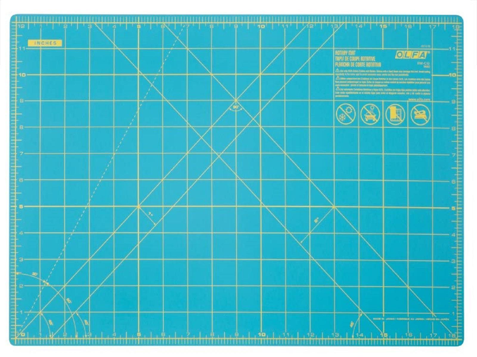 """OLFA 12"""" x 18"""" Double Sided Rotary Mat, Aqua (RM-CG/AQA)"""