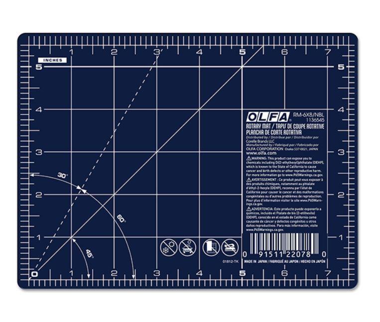"""OLFA 6"""" x 8"""" Double Sided Rotary Mat, Navy (RM-6x8/NBL)"""
