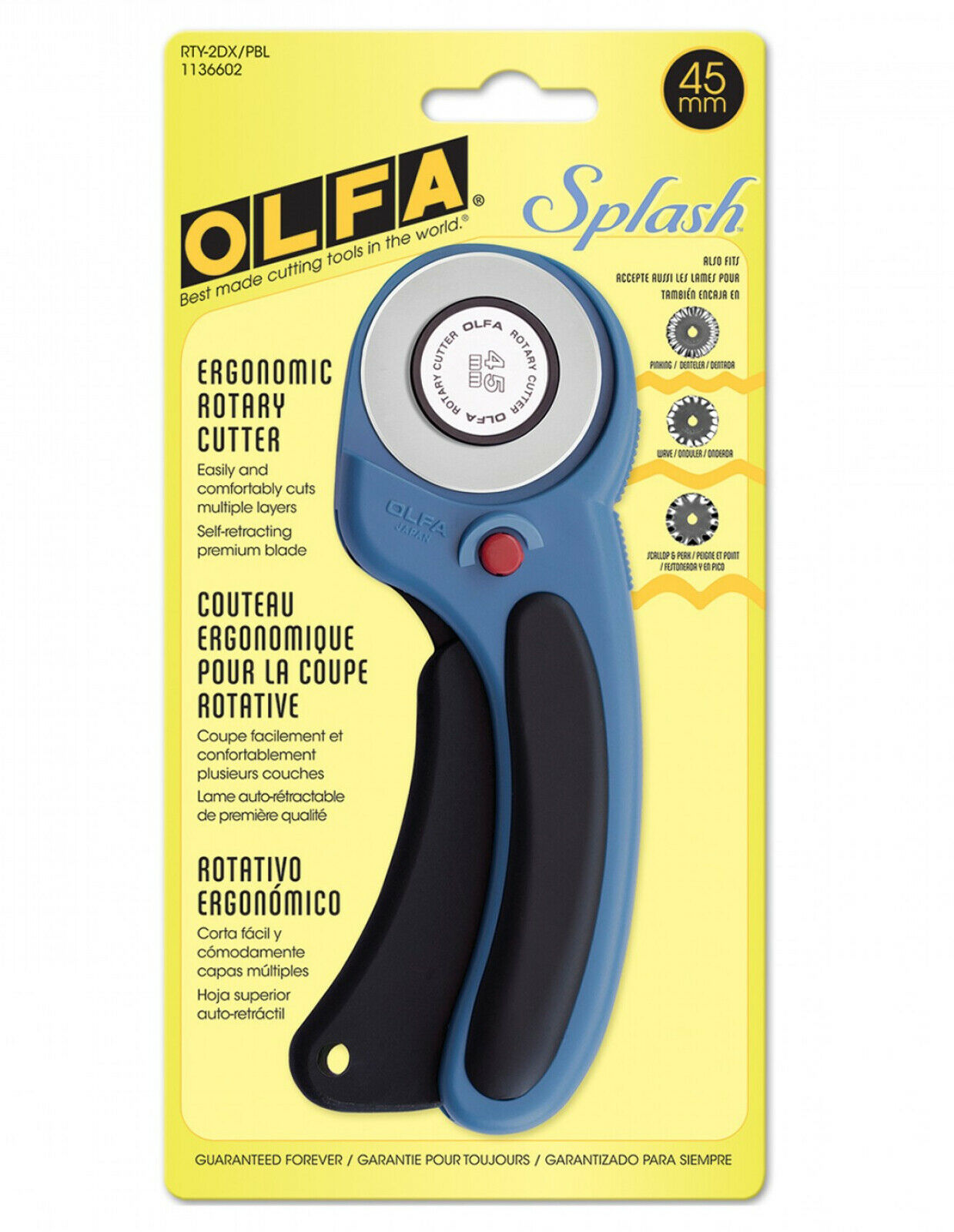 OLFA 45mm RTY-2DX/PBL Ergonomic Rotary Cutter, Pacific Blue
