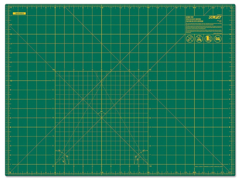 """OLFA 18"""" x 24"""" Double Sided Rotary Mat, Green (RM-SG)"""