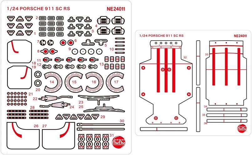 Platz Nunu Detail-Up Parts For 1/24 Porsche 911 SC RS '84 Oman Rally Winner