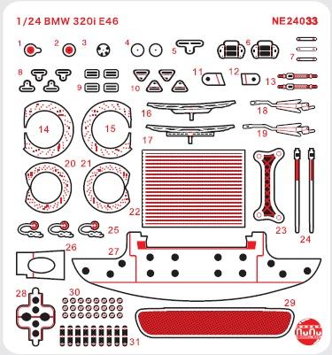 Platz NuNu Detail-Up Parts for 1/24 BMW 320i E46 2004 ETCC Donington Winner