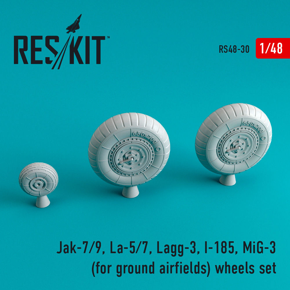 Res/Kit Jak-7/9, La-5/7, Lagg-3, I-185, MiG-3 for ground airfields wheels set